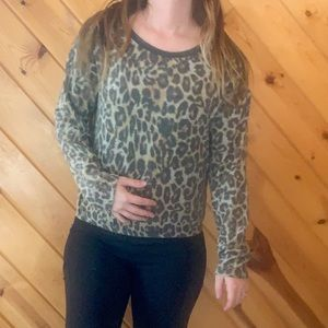 NWOT Caution To The Wind Leopard Print Sweater Sm